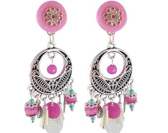 Earrings clips pink Mediterranean (made in France)