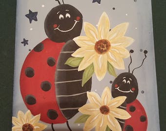 Ladybugs in the Garden, Ladybugs with Flowers, Ladybugs friends celebrate Spring and Summer, Spring/Summer Painting, Garden in the evening
