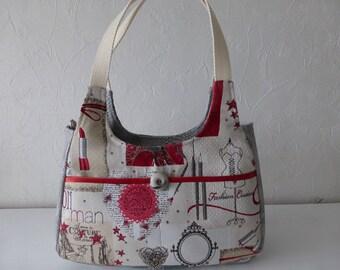 Handbag, women, fabric, retro, multicolored jacquard shoulder, hand-made