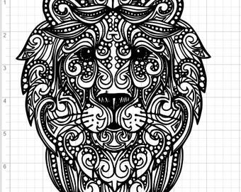 Mandala Style Lion Head and Neck SVG PDF EPS Dxf & Studio 3 Cut Files