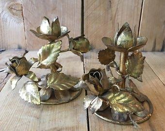 Vintage Rose Candle Holders Gold Leaf Candle Holder Floral