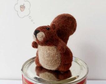 Felt Squirrel. Red Squirrel. Needle Felted Animal. Felted Wool Animal. Needle Felting. Wool Squirrel. Woodland Wildlife.  Little Squirrel.