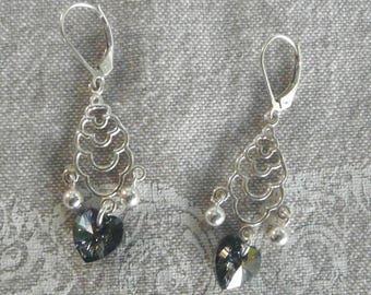 """""""Heart Grisette"""" Silver chandelier earrings"""