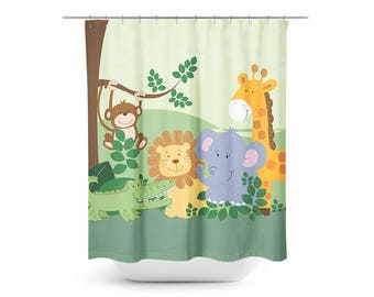 Jungle Safari Shower Curtain, Monkey Lion Elephant Giraffe Kids Jungle  Bathroom Decor MADE TO ORDER