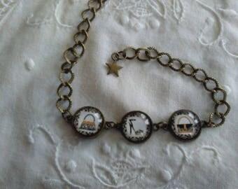 Bracelet Cabochons glass • purses and heel stiletto •maille bronze