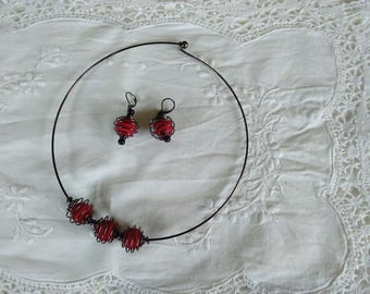 Black and Red necklace, black metal cages, faceted beads