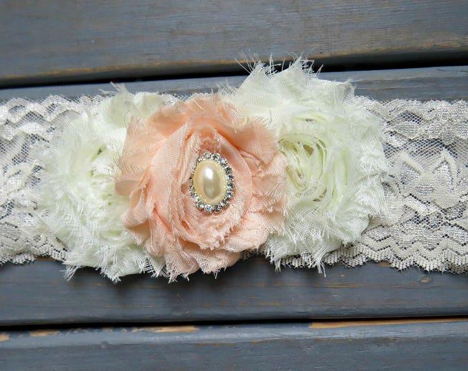 Peach and Ivory Lace Headband, Baby Headband, Lace Headband, Flower Girl Headband, Newborn Headband, Flower Girl Headband, Wedding Headband
