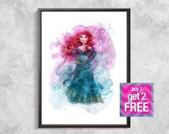 Merida Print, Merida Princess printable, Merida Watercolor print , Princess Art Print, Brave Merida Wall decor , digital download art