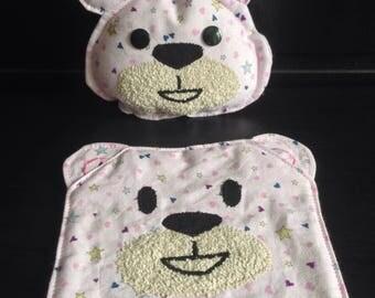 Rattle and blanket set flat Teddy bear