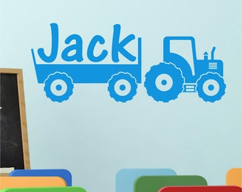 TRACTOR Farm Personalised Boys ANY NAME Girls Childrens Bedroom Playroom Nursery Vinyl Wall Art Sticker Decal Transfer 570mm *20 colours""