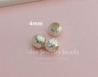 4mm round stardust beads, Solid 925 Sterling Silver. F530