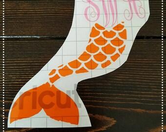 Mermaid tail monogram decal