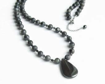 Long gemstone necklace, Lavrikite hematite women necklace, Drop pendant