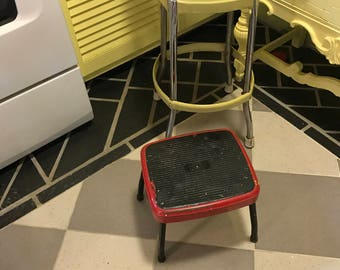 Vintage Cosco Step Stool Red Metal Step Stool Black Legs Distressed Industrial Chic Farmhouse Chic Utility Decor