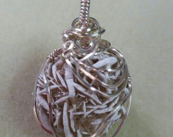 Wrapped Desert Rose stone pendant