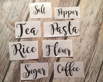 Cannister Decals | Pantry Decals | Set of 8 | Flour | Sugar | Coffee | Salt & Pepper | Pantry labels | Pantry Organization
