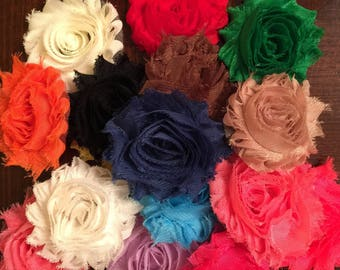 Shabby flowers, fabric flowers, headband decoration, headband flower, Buy more for less!!!