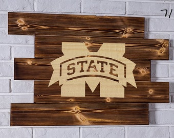 Mississippi State Bulldogs Wood Sign Mississippi State Bulldogs Wall art Mississippi State Bulldogs Gift Mississippi State Bulldogs