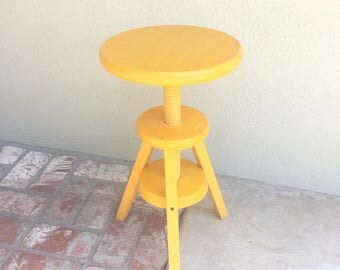 Wood Swivel Stool, Adjustable Piano Chair, Painted Wood Stool, Workshop Chair, Desk Chair, Industrial Stool, Antique Wood Stool,Office Chair