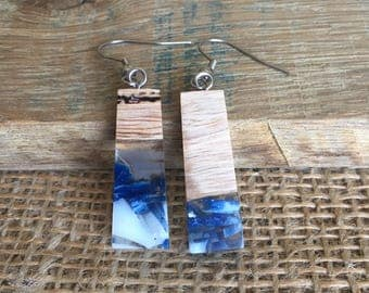 Handcrafted wood and resin earrings - pressurised casting made with shards of blue & white resin and grey gum.