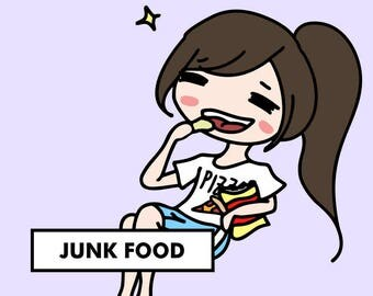 BINGE JUNK FOOD Stickers / planner stickers, food, binge eating stickers, chips, snack stickers, junk food stickers, potato chips / SD36