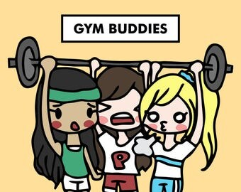 GYM BUDDIES with Friends Sarah / Planner Stickers, Weekend, Summer, Bonding, Girlfriends, Girl Gang, Workout, Fitness, Weightlifting / SD55