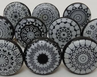 Black and Grey Ceramic Knobs Ceramic Door Knobs Kitchen Cabinet Knobs Furniture Drawer Knobs Drawer Pulls