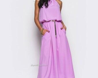 Violet cotton dress for women Summer dresses Summer maxi dress Oversized dress open shoulder Yellow dress Floor Length Dress Prom Dress