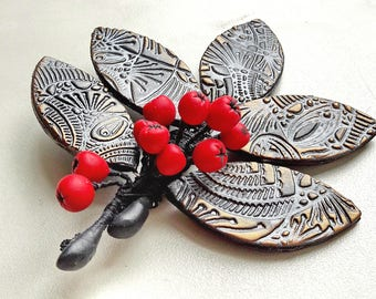 Unique brooches for women, Trendy brooch, unusual gifts for women, polymer clay brooch, jewelry gift, gift for her, brooch with red rowan