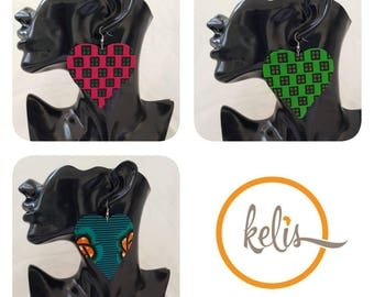 Price Slash!!African Print Dangling Heart Earrings
