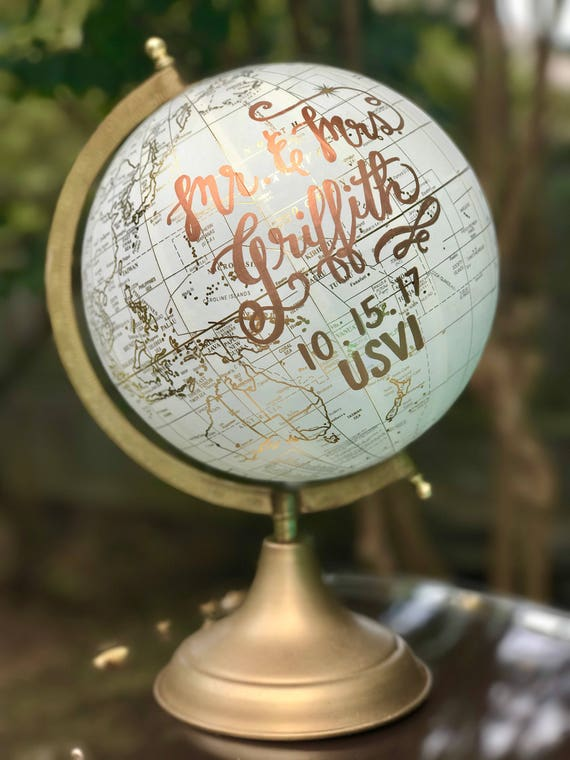 Custom Calligraphy Globe / Your Choice of Wording / White and Gold Calligraphy Globe / Custom Calligraphy Options Available