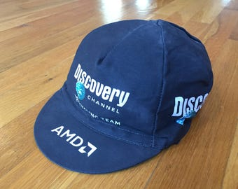 Vintage Discover Channel biker hat bicycle racer nature AMD pro cycling team