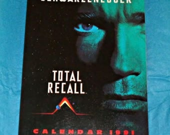 Rare Total Recall Official Movie Calendar Licensed Product 1991 Film Memorabilia Collectable Arnold Schwarzenegger Sharon Stone Sci-Fi Movie