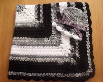 New Handmade Crochet Baby Blanket and Hat/Beanie Set - NFL Oakland Raiders - A Wonderful Baby Shower Gift!! - SEE NOTE!