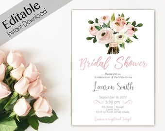 Bridal Shower Invitation, Editable PDF, Bridal Shower Printable, Floral Bridal Shower, Pink watercolor DIY Bridal Shower Invitation Template