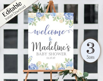 Welcome Sign Baby Shower Template, Editable PDF,  Printable, Instant Download, Baby Shower Sign, Blue flowers, watercolor, Welcome Sign Blue