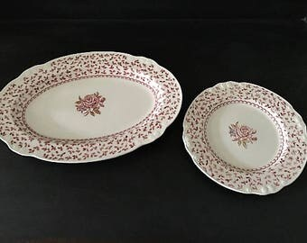 Set of 2 Beautiful White Ironstone Rose Pattern Platter and Plate  Nikko Japan