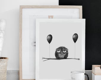 Birthday owl illustration, decor, pencil drawing, wall prints, home decor, illustration print, charcoal drawing, wall art prints,
