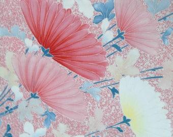 Japanese Silk KIMONO Fabric - Chrysanthemums   1 of 2