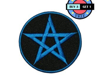 Blue Satanic Pentagram Pentacle Occult Wicca Pagan Embroidered Iron On Patch Heat Seal Applique Sew On Patches