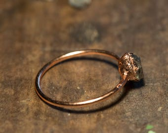 Copper ring with Herkimer diamond/wedding/Verlobungsring