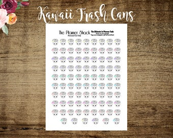 Kawaii Trash Cans | Printable Planner Stickers | Planner Printables | Printable | Trash Day | Cut File | Kawaii