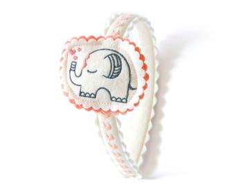 Elephant Headband  / Wool Felt Headband / Girl's Headband / Hair Accessory / Embroidered Headband