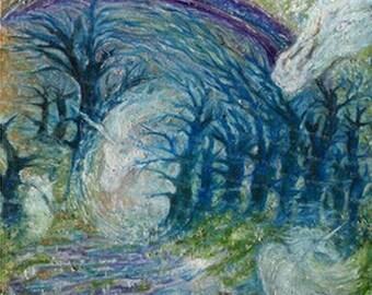 """Original Canvas Canvas 50 x 50 cm """"Walk in the Einhornwald"""