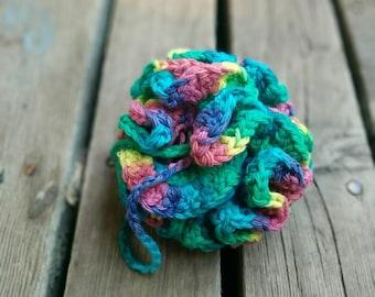 Crochet bath loofah, 100% USA cotton shower puff, bath and body care, handmade bath pouf, made in Canada, multicolor, Bath accessories