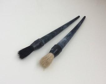 Unused vintage fitch brushes with long plastic handle, Soviet horse hair paint brushes, Retro whitewash tools set