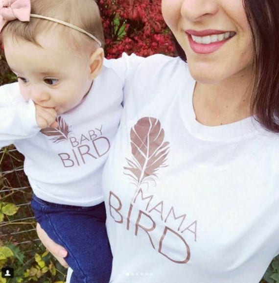 SET, Mama Bird + Baby Bird Set, Rose Gold, Mommy and Me Tees, Mama Bird, Baby Bird, Mommy Tees, Baby Shower, Mama Bird Tee, Mama Bird