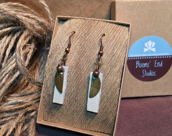 Mixed Metal and Leather Half Moon Tab Earrings