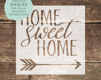 Home Sweet Home STENCIL or Decal / One-Time Use Adhesive Vinyl Stencil / Reverse Vinyl Stencil / Vinyl Decal