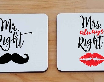 Mr Right and Mrs Always Right Square Coaster set. Mustache and Red Lips Design. Lovely Gift for a couple.